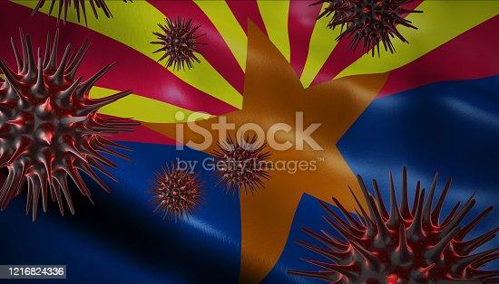 istock Corona Virus Outbreak with US State Flag of Arizona Coronavirus Concept 1216824336