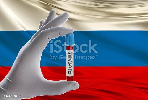 corona virus and rusia flag