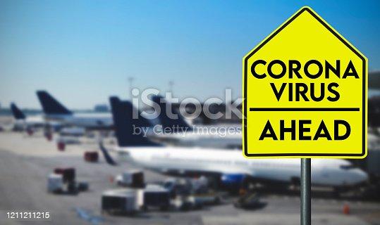 corona virus street sign alert