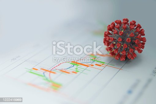 Business and finance issues in virus pandemic days concept; 3D corona virus object on falling financial data screen on white background.