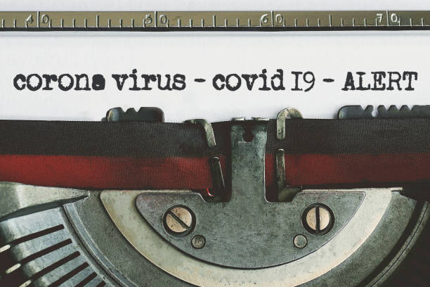 Corona Virus typed words on a vintage typewriter. corona virus-covid 19 stock photo