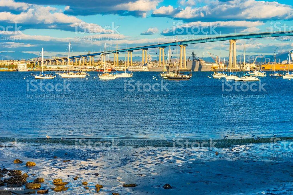 Coronado Bay Bridge with recreational boats San Diego, CA (P) stock photo