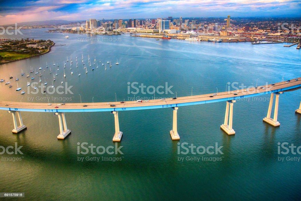 Coronado Bridge and Downtown San Diego California stock photo