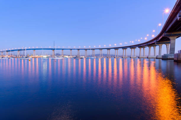 Coronado Bridge at Dusk - A close-up dusk view of Coronado Bridge, winding over calm San Diego Bay. stock photo