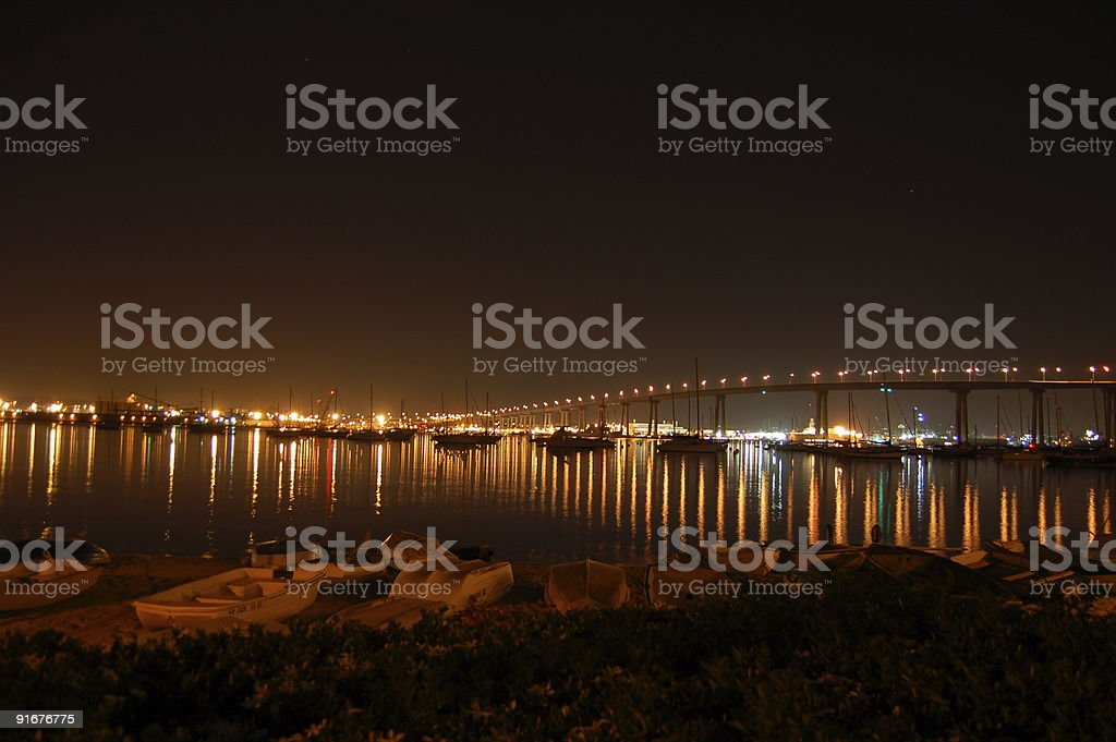 Coronado Bridge at Night stock photo