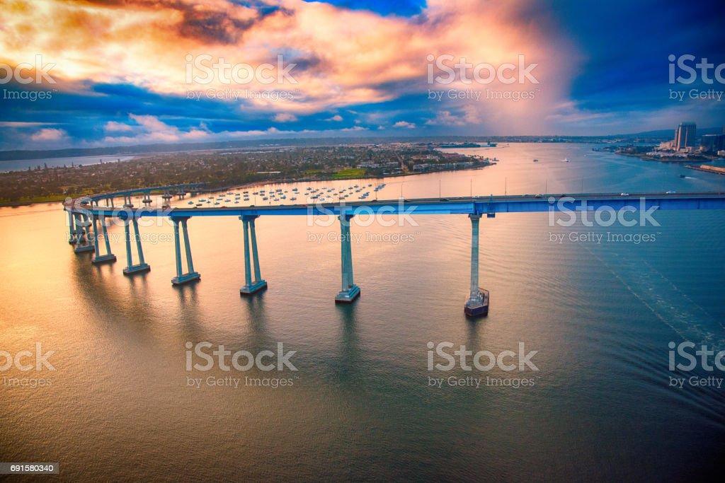 Coronado Bridge During a Stormy Dramatic Sunset stock photo