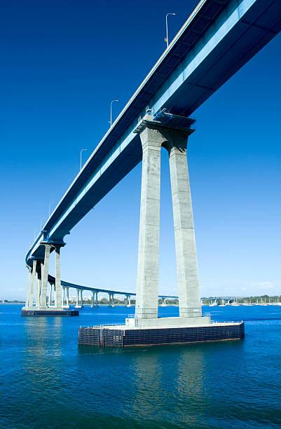 Coronado Bridge in San Diego over blue water stock photo