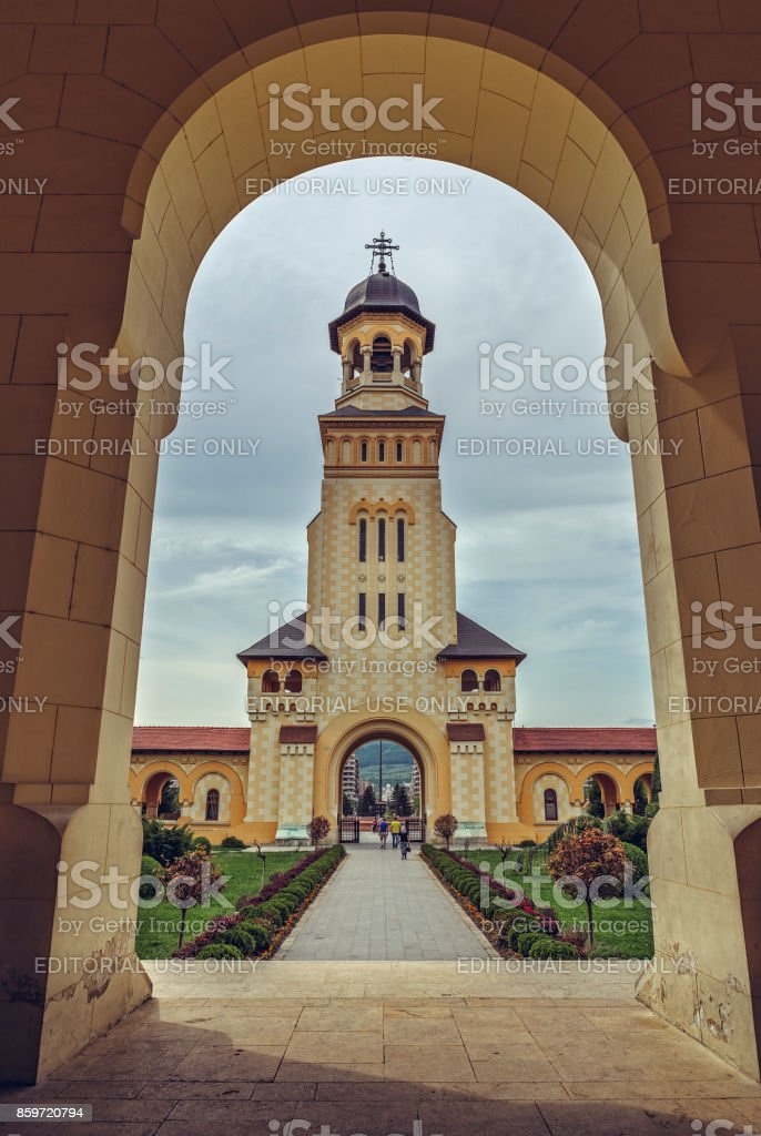 Coronation Cathedral Bell Tower, Alba Iulia, Romania stock photo