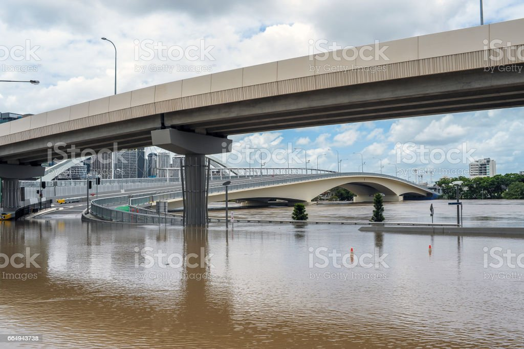 Coronation Drive during Brisbane flood event stock photo