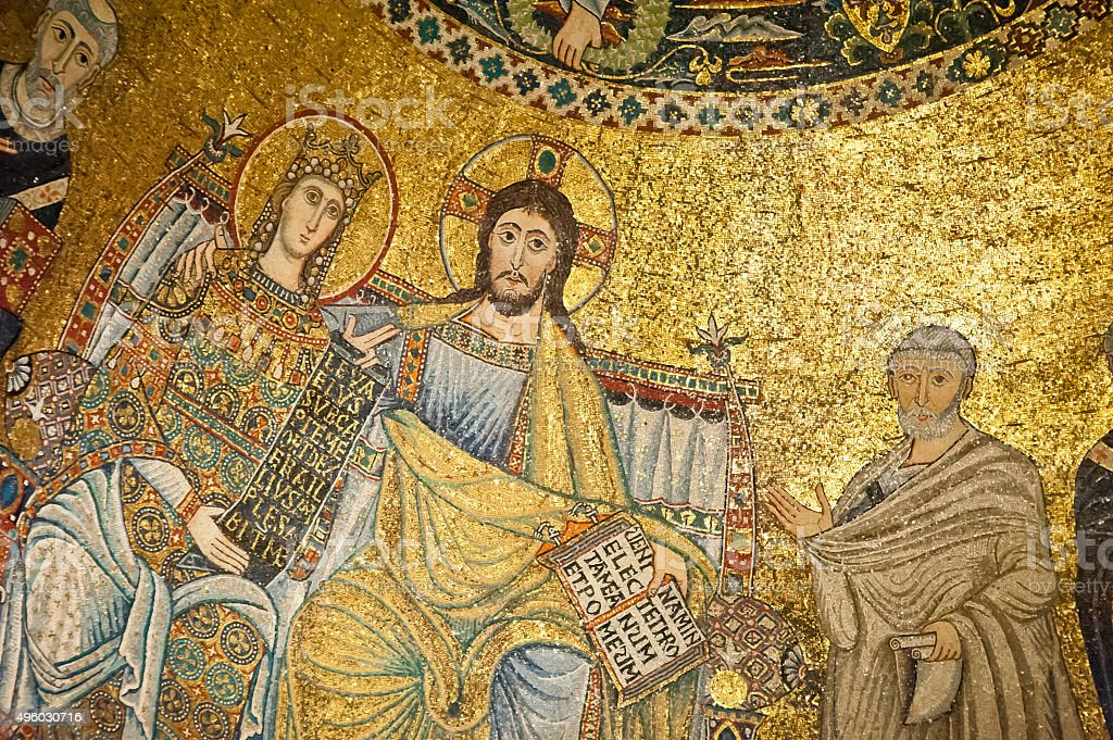 Coronation of the virgin (St.Maria in Trastevere,Rome) stock photo