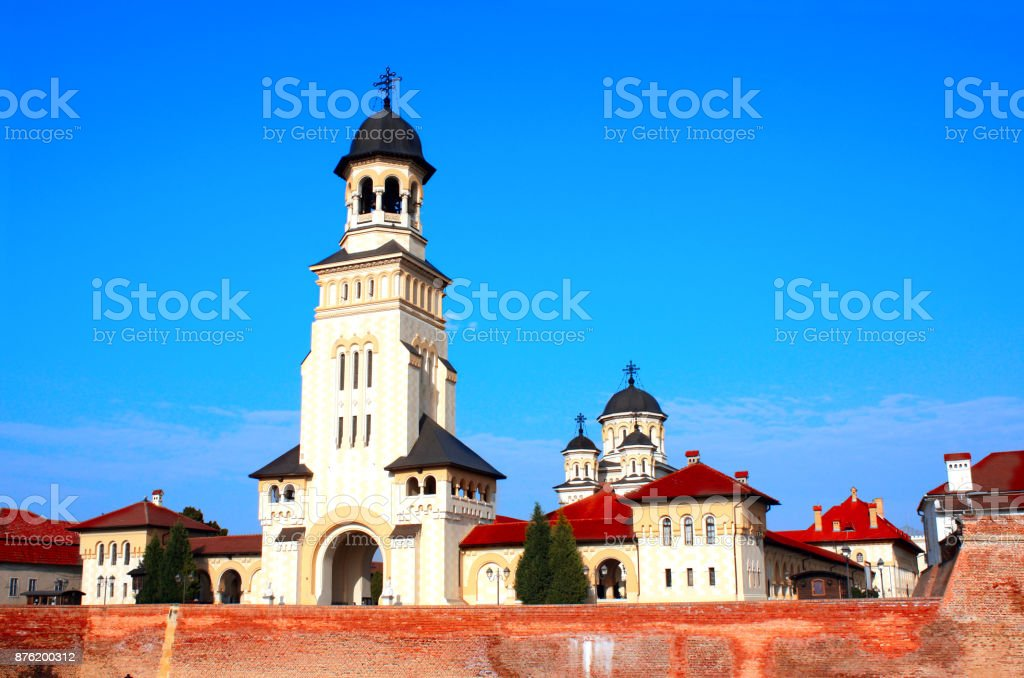 Coronation Orthodox Cathedral tower, Alba Carolina Fortress, Alba Iulia, Romania stock photo