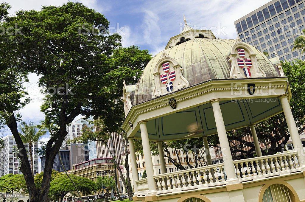 Coronation Pavilion at Iolani Palace in Honolulu, HI stock photo