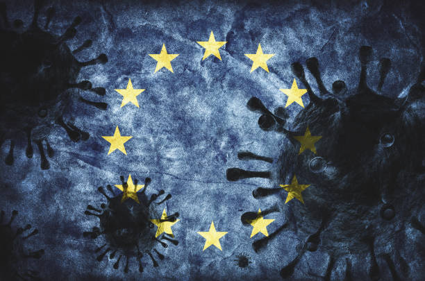 Coronavirus against European Union grunge flag. Virus causing epidemic stock photo