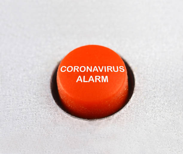 Coronavirus alarm red emergency button stock photo