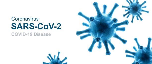COVID-19 coronavirus background, 3d illustration, pathogen germs isolated on white background. Novel SARS-CoV-2 corona virus global outbreak. stock photo