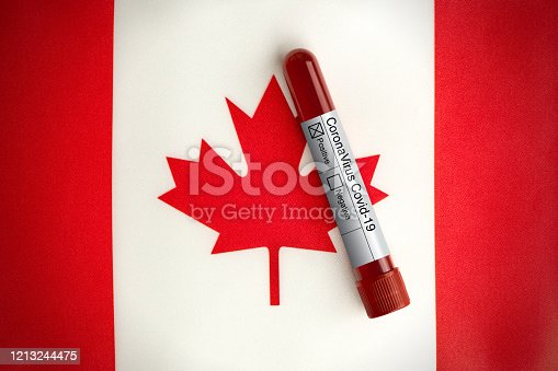 Coronavirus blood test with a positive result standing on the Canadian flag. Horizontal composition with copy space.