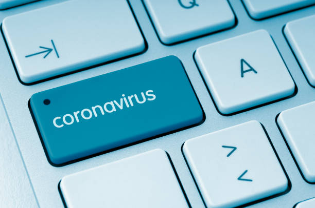 Coronavirus button stock photo