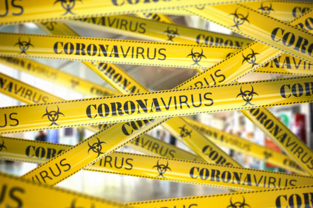 coronavirus caution on yellow warning tape. viral epidemyic and apndemic in china. - quarantena foto e immagini stock