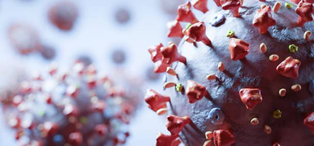 Coronavirus cells in microscopic view. Virus from Wuhan stock photo