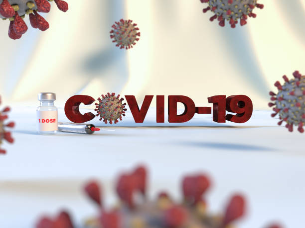 Coronavirus cells or bacteria molecule. Virus Covid-19. Close-up of Flu, view of a virus under a microscope, infectious disease. Bacteria, cell infected organism. Vaccine or Vaccination Vial. 3d Render stock photo