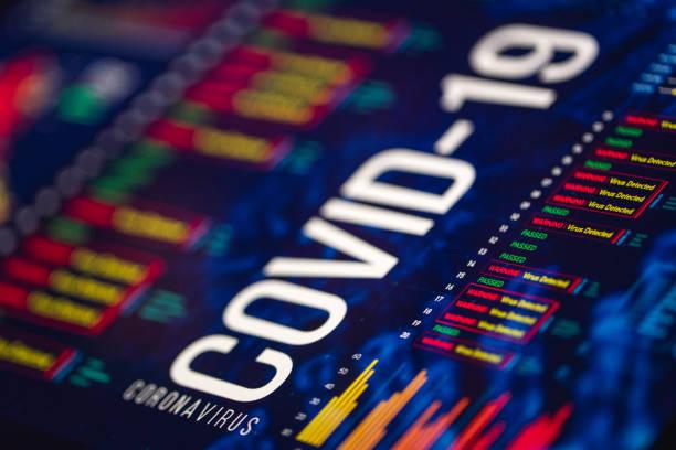 coronavirus-diagramme und -graphen auf digitaler anzeige - pandemie stock-fotos und bilder