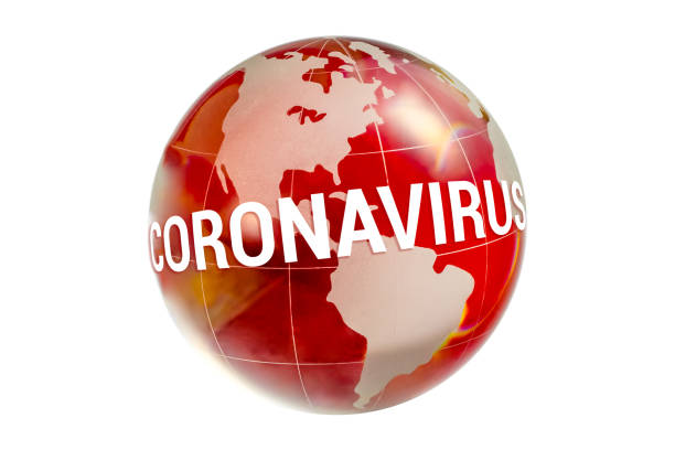 Coronavirus covid-19 2019 nCoV pandemic over globe stock photo