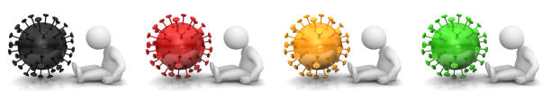 Coronavirus Covid-19 Corona pandemic disease virus Sars-Cov-2 flu bacterium sign red black gold yellow green symbol icon sick ill stick man patient 3d rendering illustration stock photo