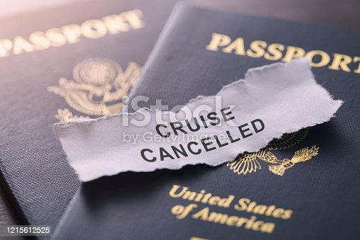 Cruise line cancelled due to the outbreak of coronavirus or covid-19 pandemic concept image