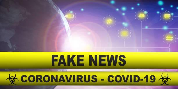 Coronavirus covid19 Fake-News-Text auf gelben Warnstreifen Hintergrund. 3D-Illustration – Foto