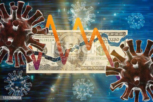 Coronavirus COVID-19 Financial Issues concepts. Ripped Paper Currency banknote and virus cell