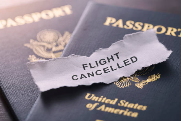 coronavirus covid-19 flight cancelled for usa guest - mphillips007 stock pictures, royalty-free photos & images