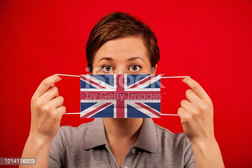 Coronavirus COVID-19 in the United Kingdom. Woman in medical protective mask with the image of the british flag. The concept of preventing the spread of the epidemic and treating coronavirus.