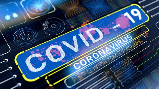 COVID-19 text on digital display