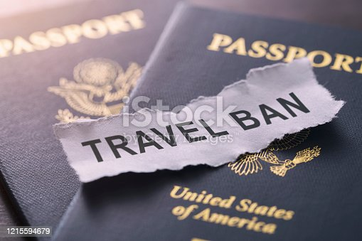 Coronavirus Pandemic Travel Concept - USA travel ban and restrictions have been applied for domestic and international travel for US citizens.