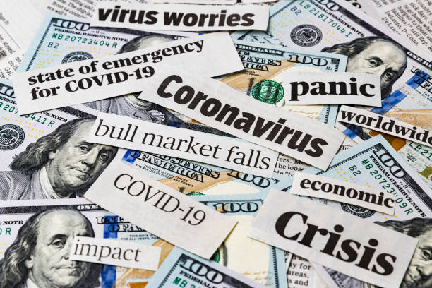 coronavirus, covid-19 news headlines on united states of america 100 dollar bills. concept of financial impact, stock market decline and crash due to worldwide pandemic - unemployment stock pictures, royalty-free photos & images