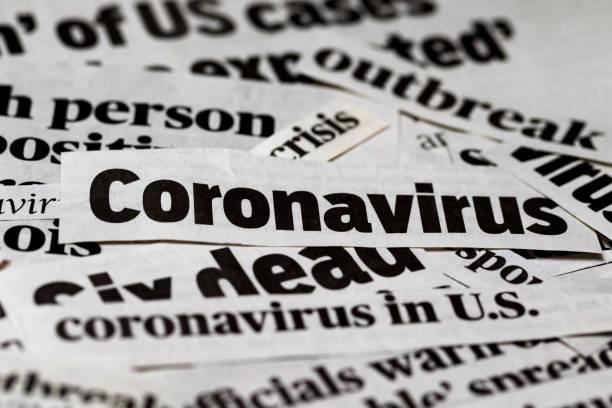 coronavirus, covid-19 krantenkrantenknipsels. media-informatie geïsoleerd afdrukken - tears corona stockfoto's en -beelden