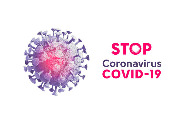 Coronavirus COVID-19 or 2019-nCov novel coronavirus concept resposible for asian flu outbreak and coronaviruses influenza as dangerous flu strain cases as a pandemic. Microscope virus close up in blue and red color isolated on white background 3d renderin stock photo