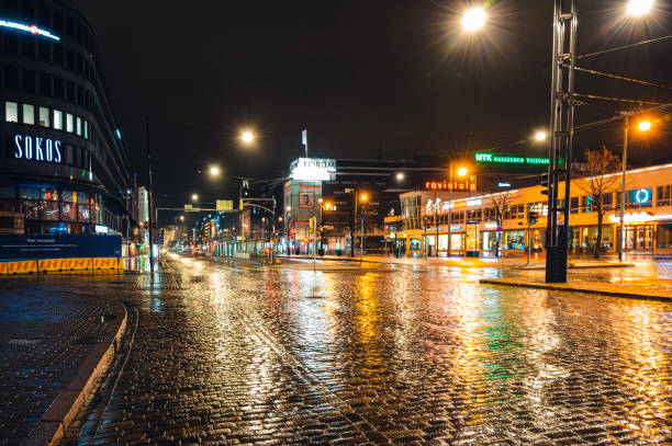 Coronavirus Covid-19 pandemic and the followed lockdown emptied the streets in Helsinki. stock photo
