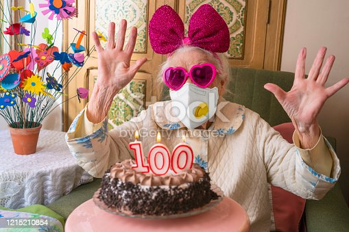Coronavirus COVID-19 pandemic confinement mask 100 years old birthday cake old woman humor