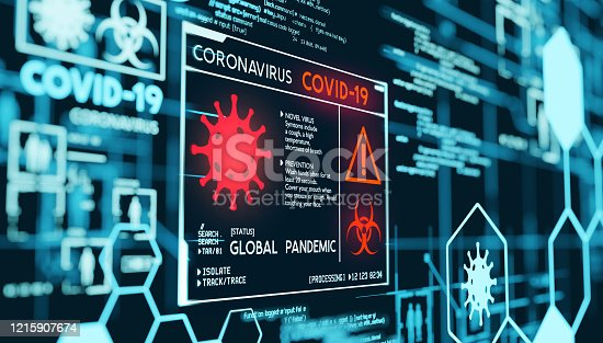 Coronavirus Covid-19 Global Pandemic Data Visualization. 3D illustration