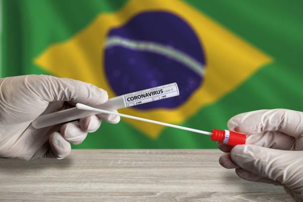 Coronavirus COVID-19 swab test in Brazil stock photo
