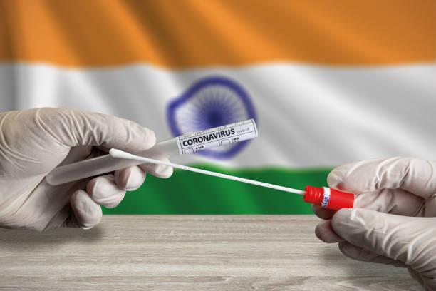 Coronavirus COVID-19 swab test in India stock photo