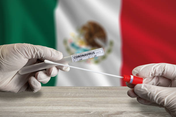 Coronavirus COVID-19 swab test in Mexico stock photo