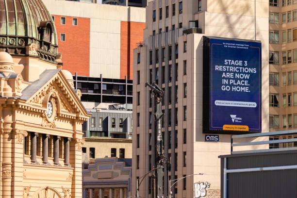 coronavirus crisis in melbourne, melbourne, australia - victoria australia foto e immagini stock