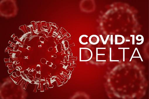 Covid 19 indian strain. Coronavirus mutation. 3d illustration of delta variant covid-19 on red background.