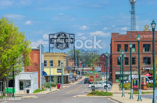 Johnson City, Tennessee - April 5, 2020:  Shelter In Place deserted Streets of Johnson City in Tennessee.