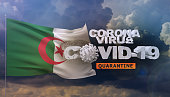 istock Coronavirus disease COVID-19 infection concept - waving flags of the world - flag of Algeria. 3D illustration. 1213652997