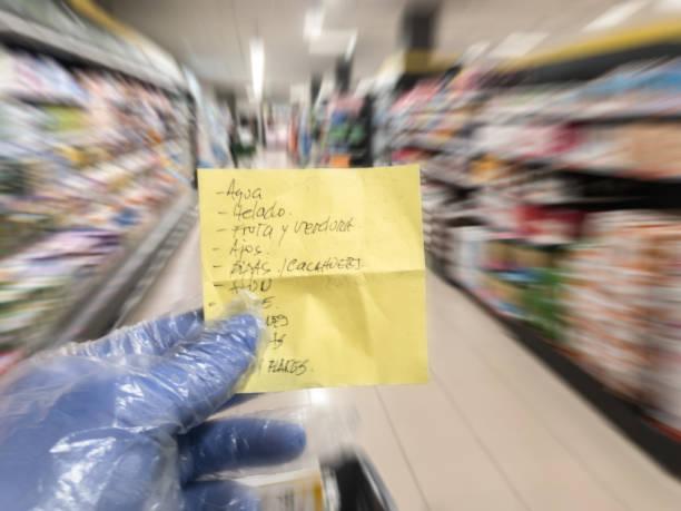 Coronavirus. Doing the grocery shopping. stock photo
