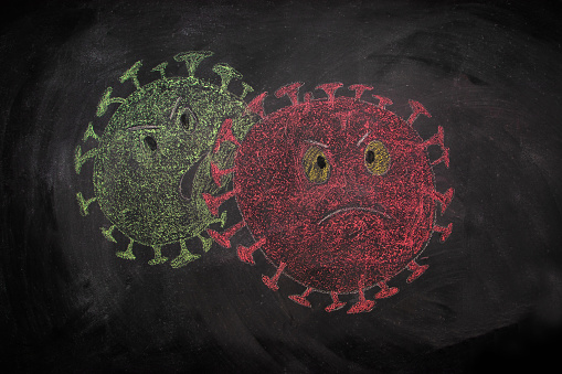 coronavirus drawing on blackboard isolated