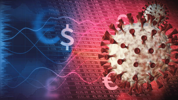 Coronavirus economic infographics with financial data spreadsheets and graphs in the background and virus cells in the foreground stock photo